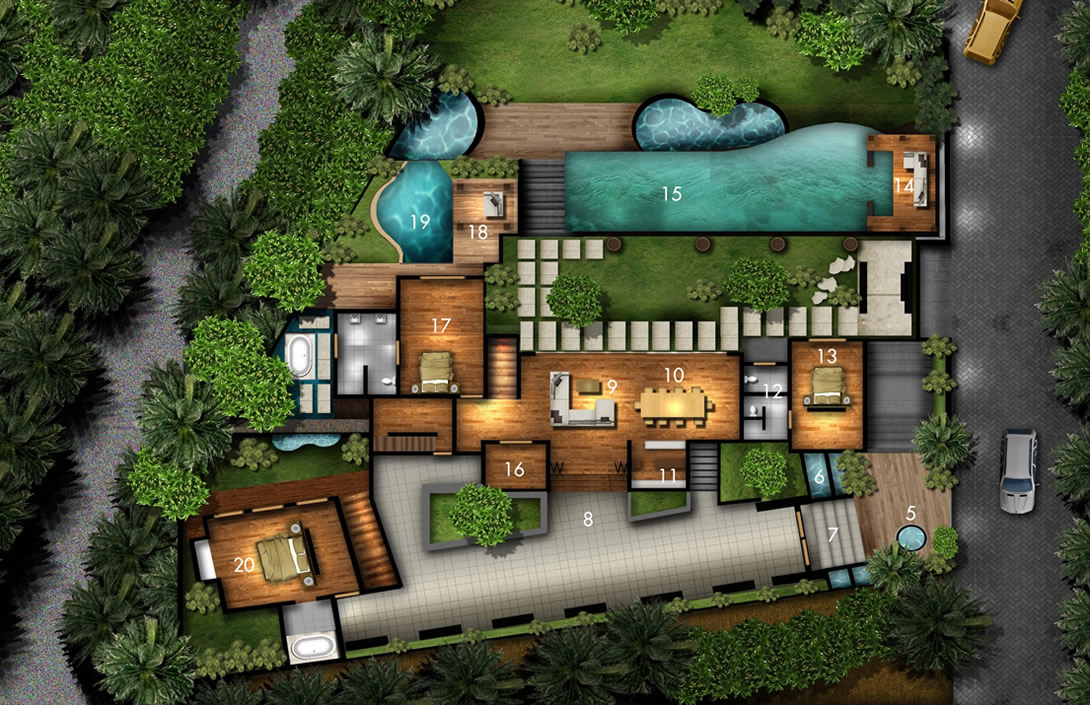 Ground floor floorplan Villa Amita Bali