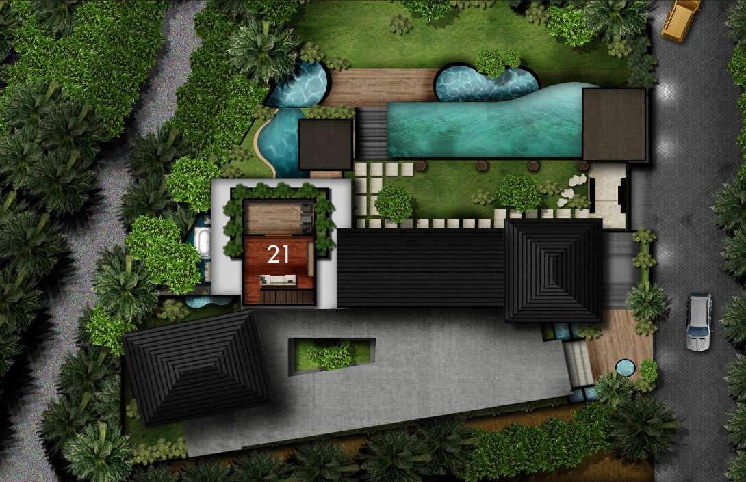 Second floor floorplan Villa Amita Bali